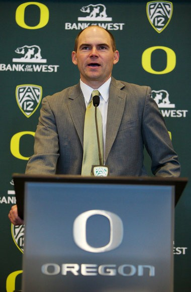 Mark Helfrich was named the new head football coach at the University of Oregon during an announcement Sunday in Eugene.