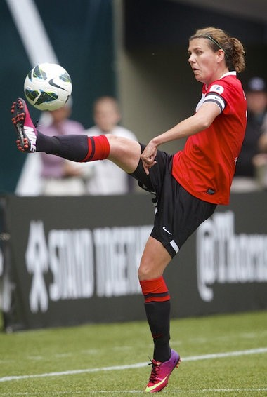 Portland midfielder Christine Sinclair (12) scored the game's only goal on a penalty kick in the Thorns' 1-0 win at Seattle Saturday. Photo by Randy L. Rasmussen/The Oregonian