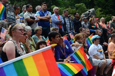 Supporters of gay marriage rallied in Portland in late June after the Supreme Court allowed same-sex marriages to proceed in California and struck down key parts of a federal law prohibiting recognition of gay marriages.