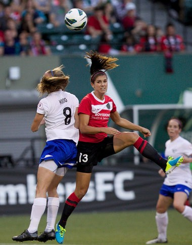 Portland forward Alex Morgan (middle) has scored a team-leading six goals to help the Thorns challenge for first place in the NWSL. The Thorns host Chicago in a nationally televised game July 28. Doug Beghtel/ The Oregonian