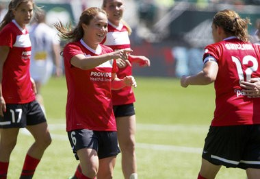 PORTLAND, OREGON-7/14/13--The Portland Thorns Meleana Shim (6) got an assist by Christine Sinclair (12) on a goal that tied the Western New York Flash, 1-1, in a women's soccer match Sunday at Jeld-Wen Field. Photo by Randy L. Rasmussen/The Oregonian