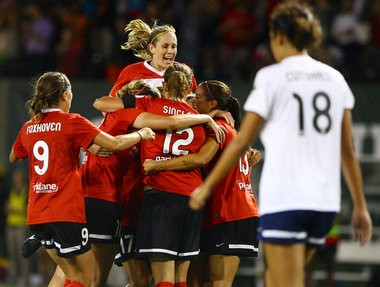 PORTLAND, OREGON - July 31,2013--The Portland Thorns celebrate after Alex Morgan scores in the second half. Brittany Greeson /The Oregonian