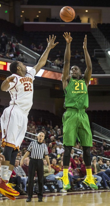 "Oregon guard Damyean Dotson injured his ankle against USC but his coach said ""I think so"" when asked whether he could play Tuesday."