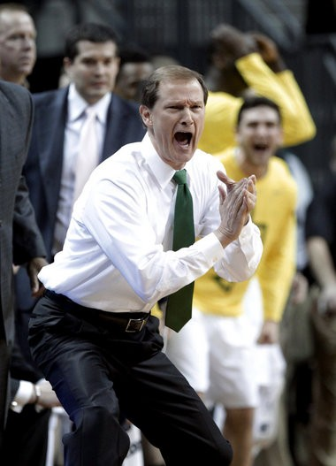 Oregon coach Dana Altman reacts during the first half against Arizona State in Eugene on Tuesday.