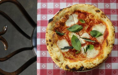 A margherita pizza from P.R.E.A.M., the Wu Tang-inspired pizzeria pop-up at Ned Ludd.