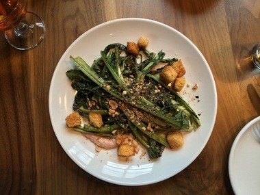 Grilled chicories, brioche croutons, crushed hazelnuts at Ruddick/Wood in Newberg.
