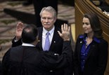 Oregon Gov. John Kitzhaber is sworn in for a fourth term on Jan. 12, with fiancee Cylvia Hayes by his side.