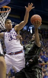 Kansas's Landen Lucas (33) is averaging 2.7 points and 3.5 rebounds in 11.7 minutes per game as a redshirt sophomore.