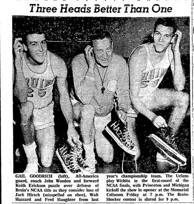Guard Gail Goodrich, coach John Wooden and forward Keith Erickson go along with a photographer's gag photo idea in the days before the NCAA Final Four in Portland in 1965. They were supposedly wondering how they would fill the shoes of former UCLA stars.