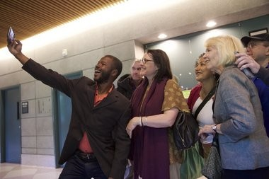 Supporters of Cameron Whitten show up to the Justice Center to support Cameron Whiten on May 18, 2015. Bruce Ely / Staff