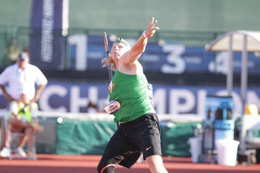 Oregon's Sam Crouser sets up a throw in the javelin event. Crouser, who was a Gresham standout, won the event with this throw, wiht a mark of 259 feet, 9 inches.