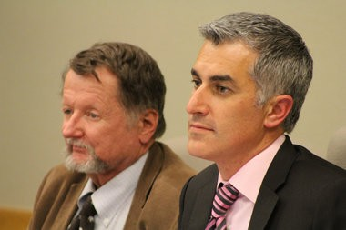 Sens. Chris Edwards, D-Eugene, (right) and Fred Girod, R-Stayton, listen to testimony at the Senate Special Committee on Sustainable Transportation's first and only meeting, June 24, 2015, at the Capitol in Salem.