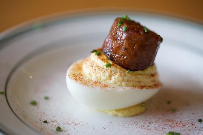 Smokehouse Tavern's hot link-topped deviled egg.