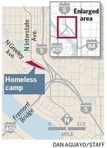 The proposed camp is adjacent to a nonprofit garden in North Portland.