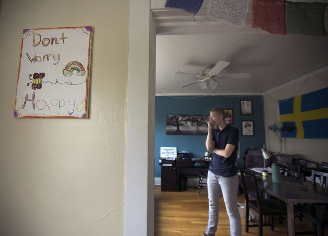 Leo Soell's home in Portland is filled with supporting signs from their students.