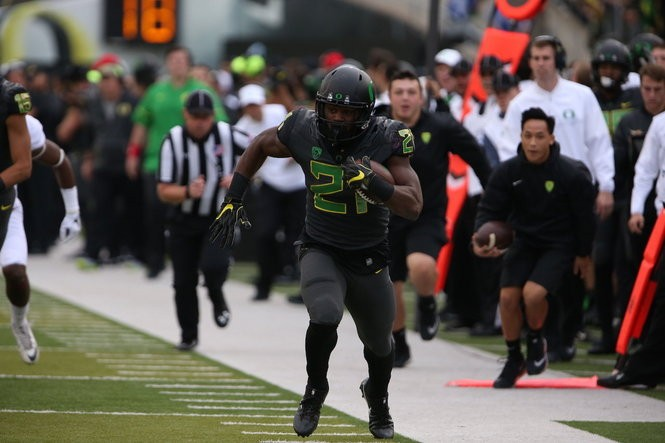 Royce Freeman rushed for 111 yards on Saturday against Stanford.
