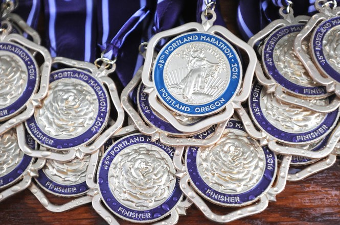 Medals await the top finishing runners at the 2016 Portland Marathon.