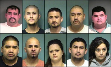 Ten of the people arrested on drug charges Tuesday, include, clockwise, from top left, Faliciano Ayala-Cardenas, 31; Lisandro Rangel-Garcia, 22; Juan Jose Virelas-Solorzano, 34; Efrain Aispuro-Carrasco, 44; Sergio Gustavo Pineda-Villanueva, 23; Brenda Diaz-Diaz, 21; Raul Megel Rodriquez,29; Collene Amelia Walker, 37; Jose Bertin Cruz-Estrada, 22; and Noe Nunez-Manzo, 28.