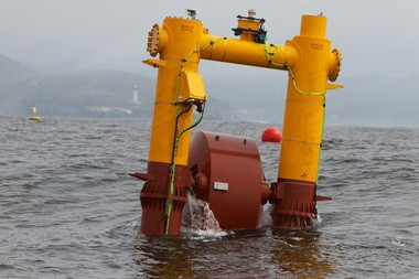 A wave energy buoy named Wet-NZ floats in the Pacific Ocean just off the coast near Newport in September 2012. The device was part of a test sponsored by private groups and public universities to test electricity generation from waves.