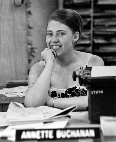 Annette Buchanan as the 20-year-old managing editor of the University of Oregon's Daily Emerald at her desk in June 1966.