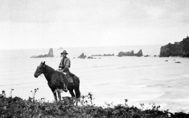 Oswald West sits on his horse near the present-day Ecola State Park. On Feb. 13, 1913, West gave Oregon a gift that has kept giving ever since. He declared the state's beaches a public highway and got the state legislature to back him up. As a result, Oregon has the longest stretch of public beach in the continental United States.