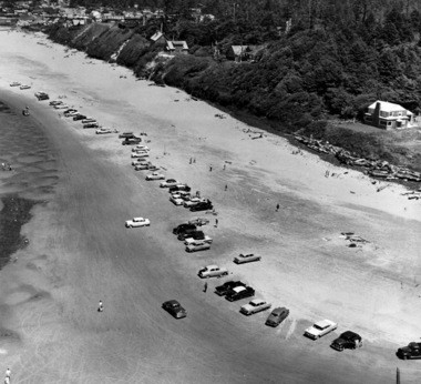 In 1958, this group of cars gathered on the sand near Cannon Beach.
