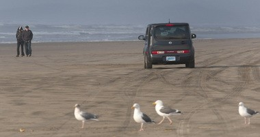 Cars are a common sight on some of Oregon's beaches, including Sunset Beach near Gearhart on the north coast.