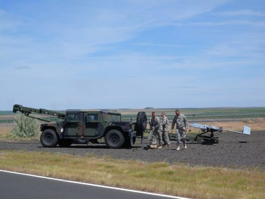Oregon Army National Guard soldiers prepare to launch an unmanned military aerial reconnaissance drone Tuesday at the Eastern Oregon Regional Airport at Pendleton. The hydraulic-pneumatic launch equipment accelerates the drone from zero to more than 70 mph in 1.5 seconds. The Guard expects to train drone operators in Pendleton well into the foreseeable future.