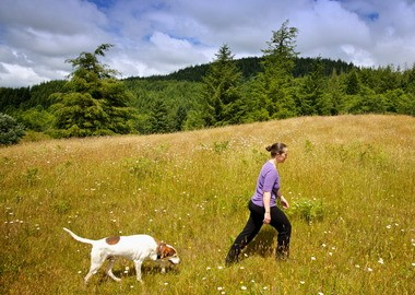 Bethany Reed walks with her dog to the location where she plans to plant a sequoia tree in memory of her infant daughter. The baby, named Sequoia, died after several birth-related complications. The midwife who delivered the girl was charged in connection with the baby's death.