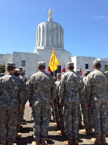 Troops stand in formation for Saturday's retirement ceremony for Maj. Gen. Raymond F. Rees