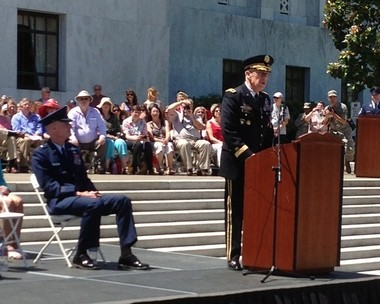 Rees speaks to the assembled soldiers, airmen and civilians at Saturday's retirement ceremony at the state Capitol.