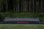 The visitors bench and bleachers at the football field behind Clatskanie Middle/High School.