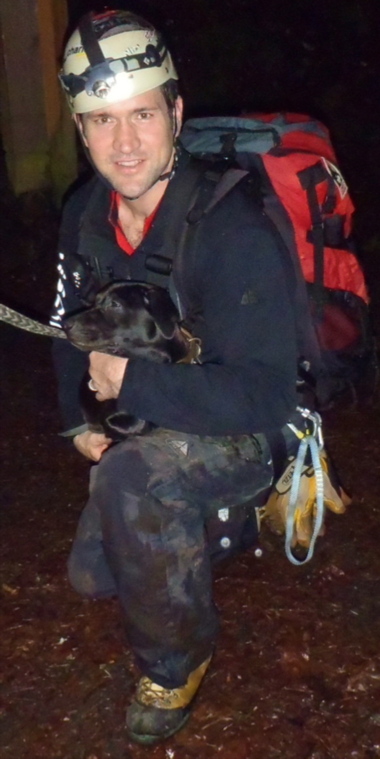 Scott Norton with Portland Mountain Rescue rappelled down a steep cliff where he found 7-month-old Rocky.