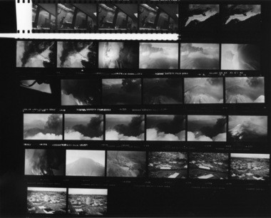 This photo shows a contact sheet of film from The Columbian photographer Reid Blackburn, who took the photographs in April 1980 during a flight over Mount St. Helens. The film was just recently found and developed.
