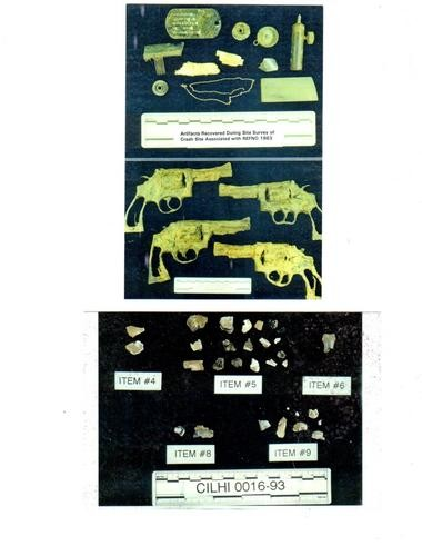 Some of the fragments found on a later recovery mission to the crash site in Laos. The Defense Department didn't conduct DNA tests on the bone fragments. Matejov's family is skeptical that the dog tag with his name was really one he was wearing when he was shot down.