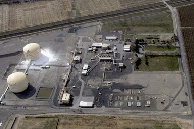An aerial view of the Williams Northwest Pipeline plant in Plymouth, Wash., on Monday after a natural gas pipeline ruptured, injuring 4.