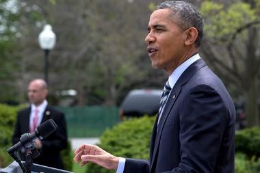 President Barack Obama speaks in the Rose Garden of the White House in Washington on April 18, 2014.