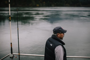 Michael Broncheau at theCascade Locks year-round tribal fishing site.
