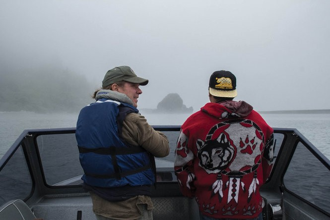 Yurok Tribe Fisheries Department Director Dave Hillemeier, left, and technician Robert Ray on the Klamath River on the Yurok Reservation.