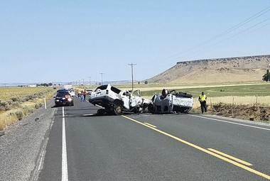 The scene of the crash outside Burns on Monday, Aug. 13, 2018. (Oregon State Police via AP)