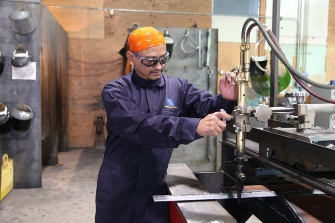 """The certification for welders at Portland Community College takes six months to complete. Jorge Balcazar, 47, got his certificate on September 5, 2018. """"That's my first time I get my certificate in my life, that's the first time because I didn't study anything before,"""" he says."""