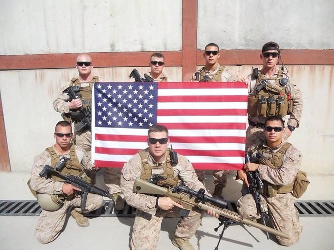 Connor Dyer and fellow Marines overseas.