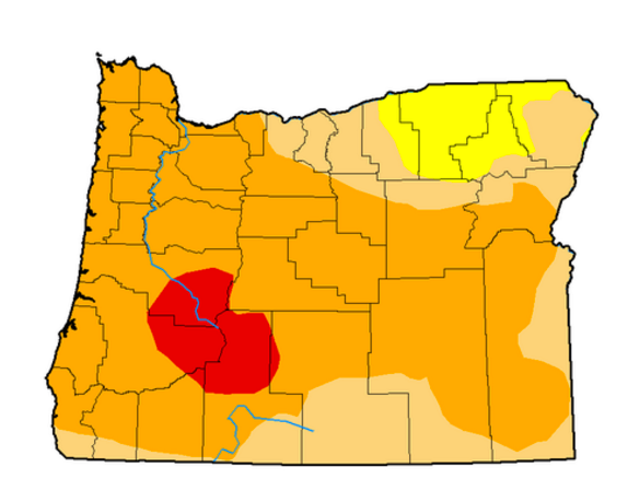 A drought map of Oregon shows nearly the whole the state in either moderate drought (beige), severe drought (orange) or extreme drought (red).