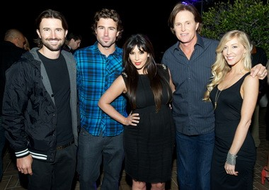From left to right: Brandon Jenner, Brody Jenner, Kim Kardashian, Bruce Jenner and Leah Jenner pose for a photo at the Brandon & Leah EP Release Party on Monday April 8.