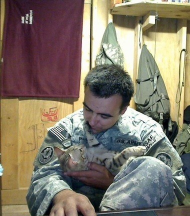 Staff Sgt. Jesse Knott with Koshka in Afghanistan