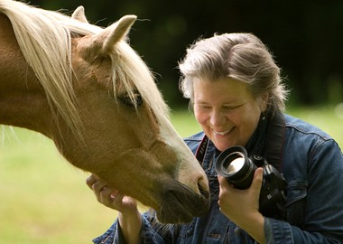 Kristin Zabawa with a horse from the Welsh pony herd she has been photographing for years.