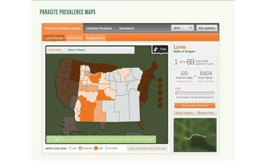This map shows where Lyme disease occurred in Oregon last year.