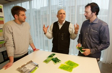 HydroPacks are porous plastic pouches containing an electrolyte mixture that filters undrinkable water as it draws the clean water into the pouch over 8-12 hours. From left, Jeff Heil, with the Ready Set Drop project , Nels Gabbert, chairman of Design Forum/ PDX, and Erik Gerding, program director with Design Forum /PDX, are working to bring attention to the HydroPacksâ potential as well as the design expertise in the Portland area.