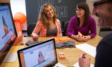 Jennifer Ferguson, left, founded sports bra company Handful, which is moving some of its production back to Oregon. Ferguson on Thursday talked marketing and branding strategy with Linda Reese, right, and Dan Fredman, principals in Portland brand-marketing agency Sparktank.