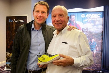 Frank van Wezel, right, worked for a fertilizer company in Kenya before building what he believed to be a better squash shoe. The shoe gave life to Hi-Tec Sports, which is now run by his son, Ed van Wezel. The company is holding its annual North American sales meeting in Portland this week. Frank van Wezel is holding the Zuuk, a lightweight casual shoe that will be introduced to the U.S. next March.